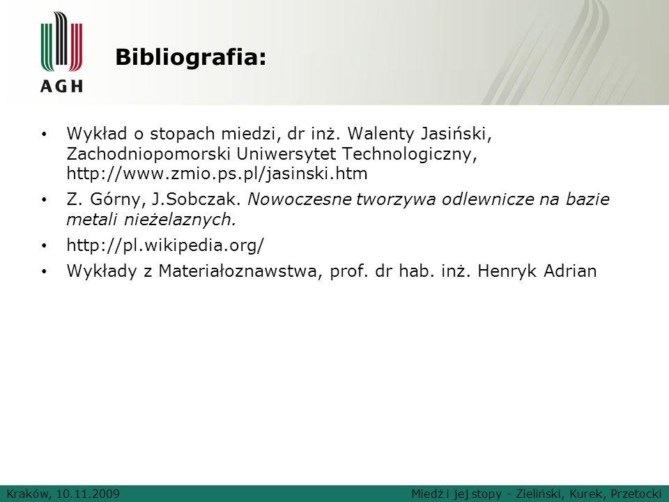 Bibliografia: Wykład o stopach miedzi, dr inż. Walenty Jasiński, Zachodniopomorski Uniwersytet Technologiczny, http://www.zmio.ps.pl/jasinski.htm.