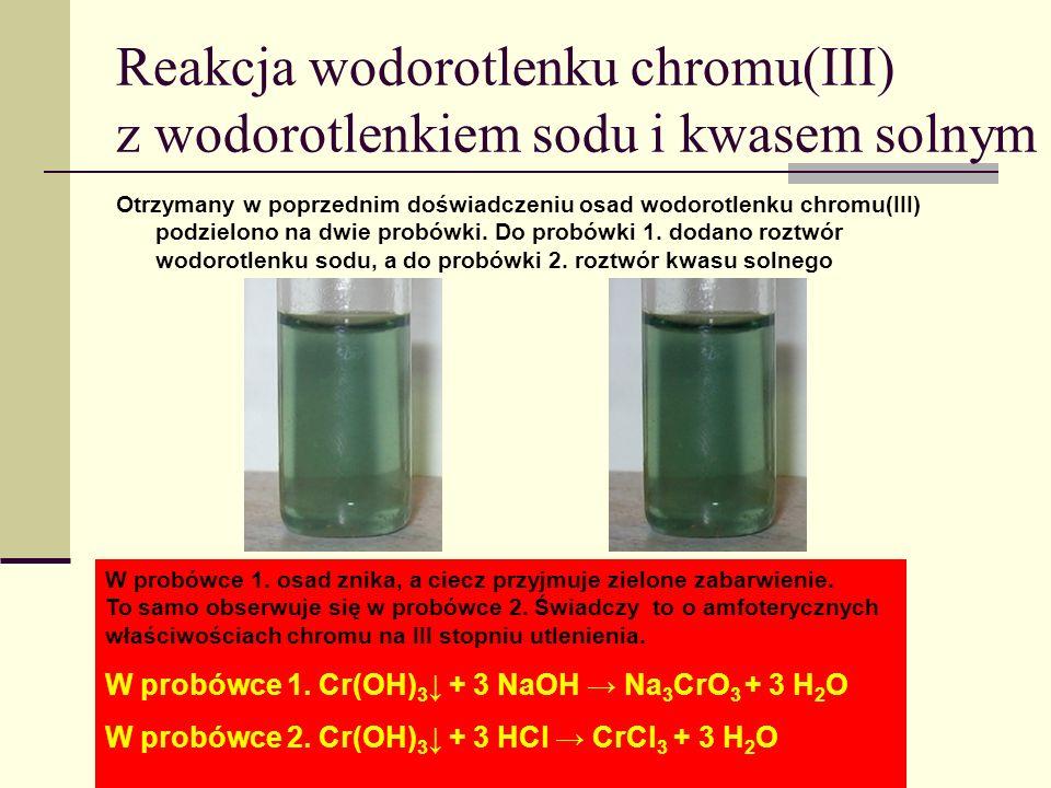 Reakcja wodorotlenku chromu(III) z wodorotlenkiem sodu i kwasem solnym