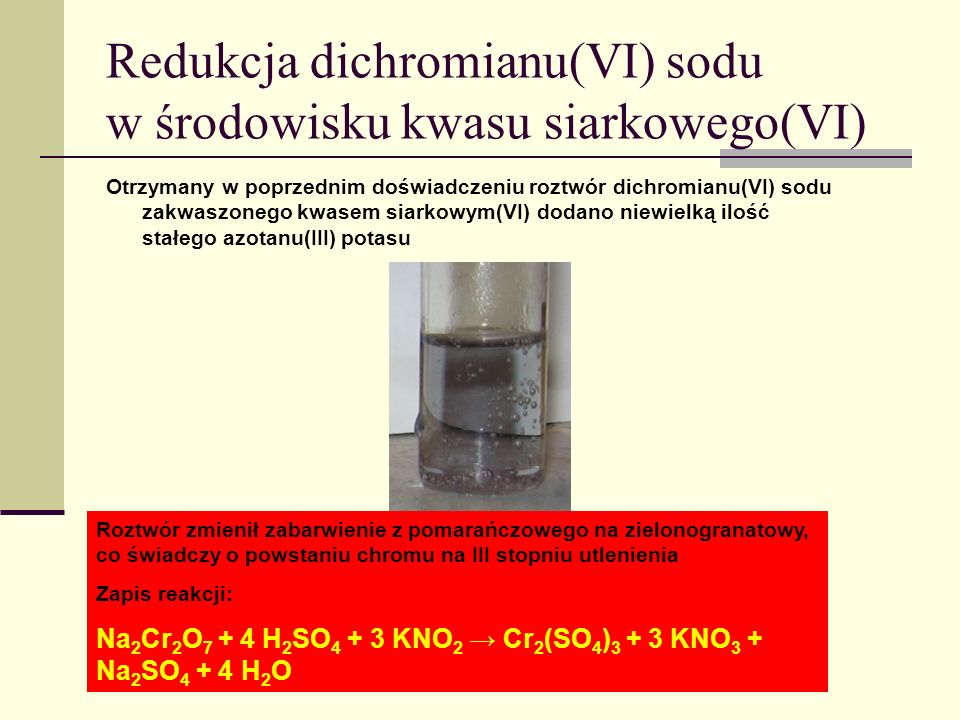 Redukcja dichromianu(VI) sodu w środowisku kwasu siarkowego(VI)