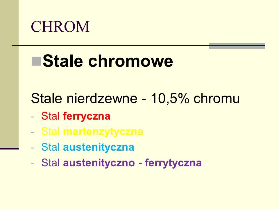 Stale chromowe CHROM Stale nierdzewne - 10,5% chromu Stal ferryczna