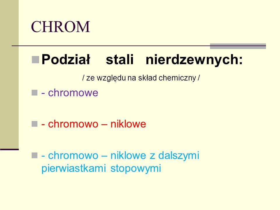 CHROM Podział stali nierdzewnych: / ze względu na skład chemiczny /