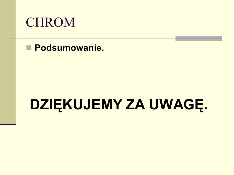 CHROM Podsumowanie. DZIĘKUJEMY ZA UWAGĘ.