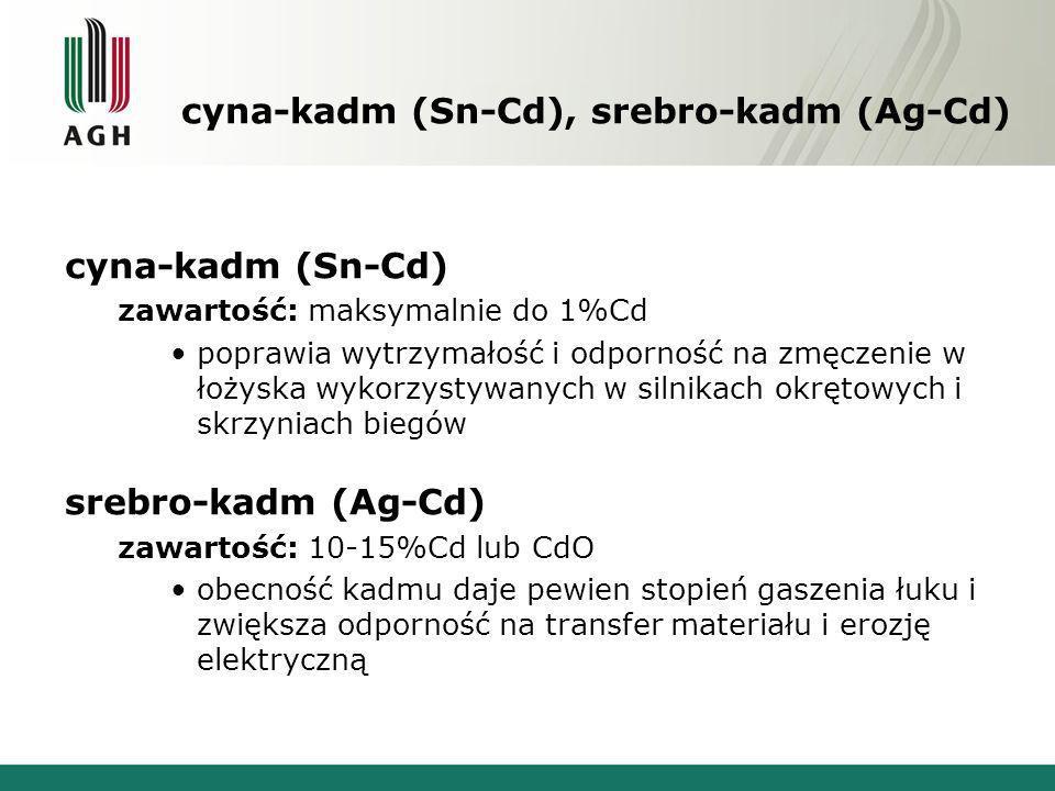 cyna-kadm (Sn-Cd), srebro-kadm (Ag-Cd)