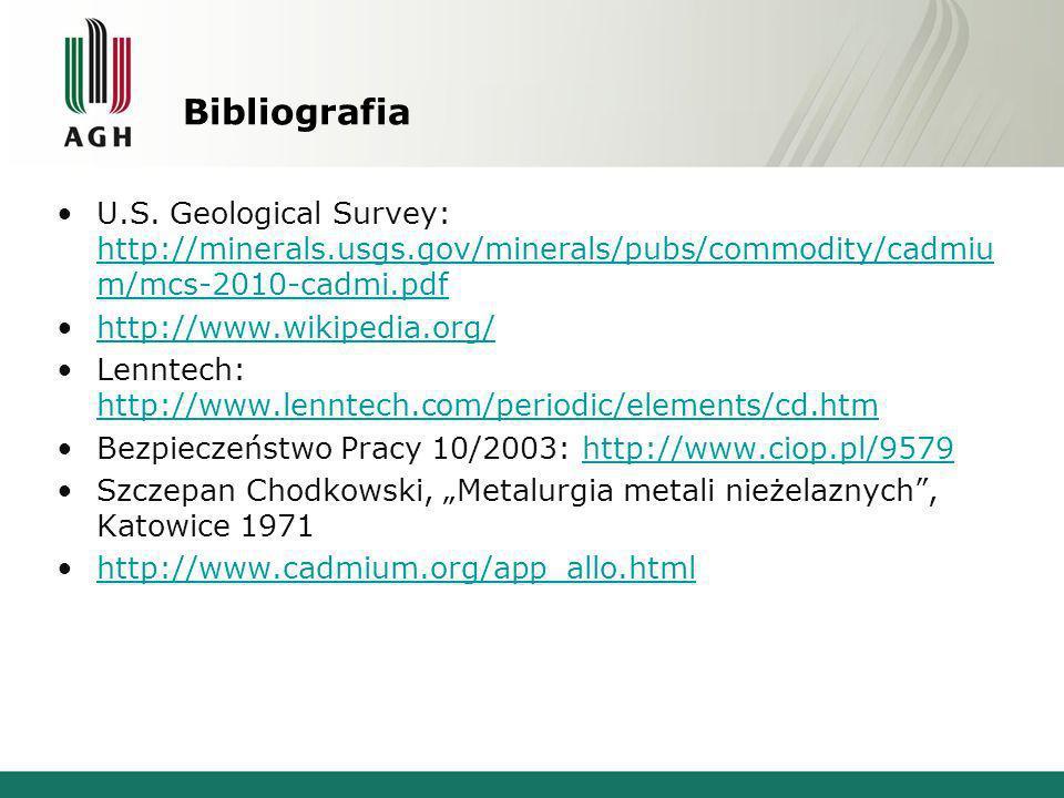 Bibliografia U.S. Geological Survey: http://minerals.usgs.gov/minerals/pubs/commodity/cadmium/mcs-2010-cadmi.pdf.