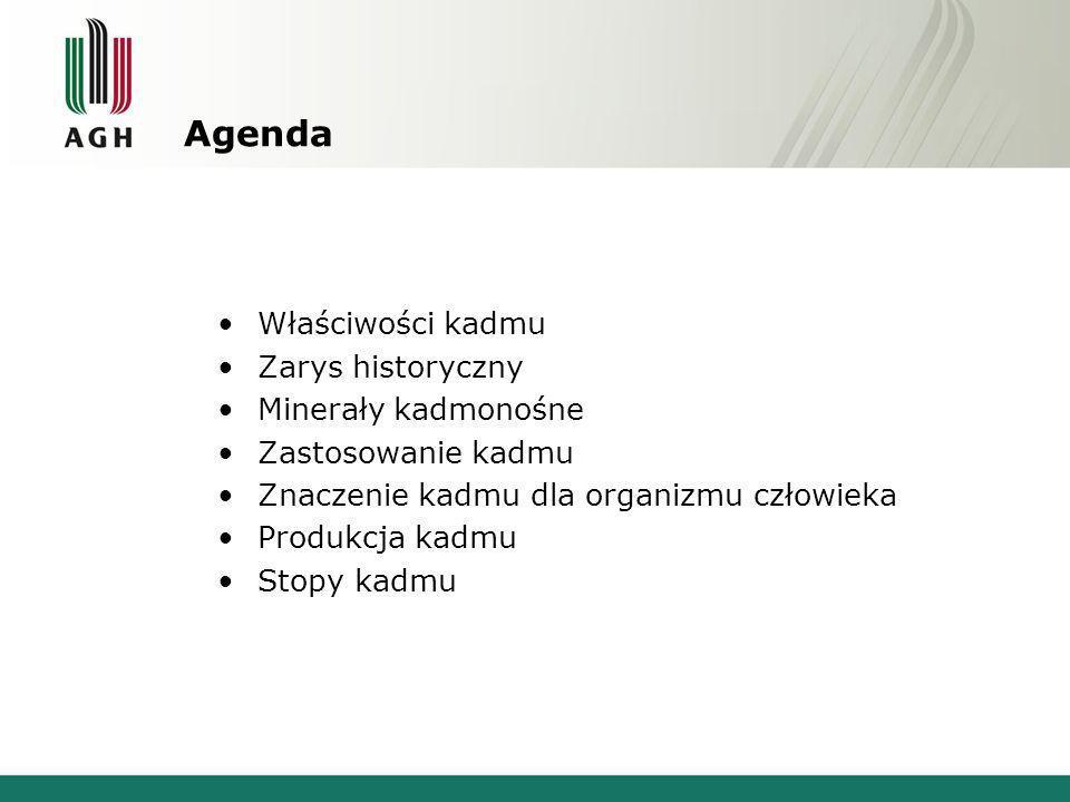 Agenda Właściwości kadmu Zarys historyczny Minerały kadmonośne