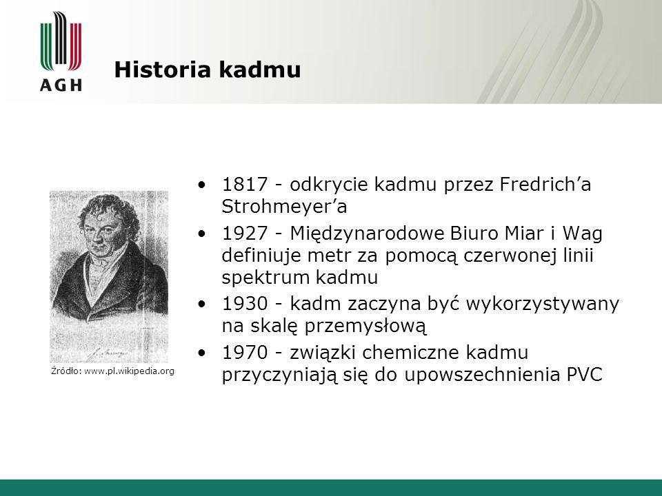 Historia kadmu 1817 - odkrycie kadmu przez Fredrich'a Strohmeyer'a