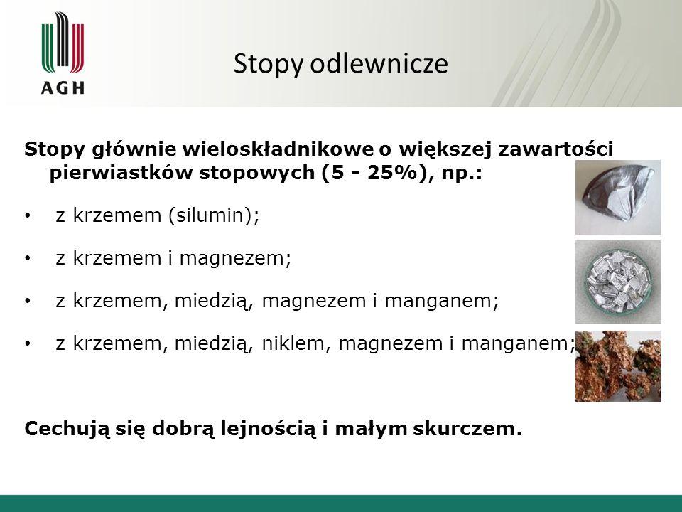 Stopy odlewnicze Stopy głównie wieloskładnikowe o większej zawartości pierwiastków stopowych (5 - 25%), np.: