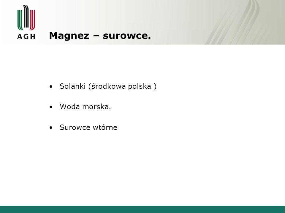 Magnez – surowce. Solanki (środkowa polska ) Woda morska.