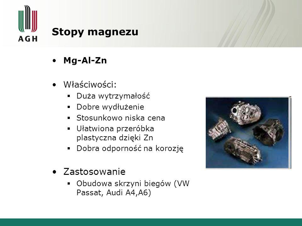 Stopy magnezu Zastosowanie Mg-Al-Zn Właściwości: Duża wytrzymałość