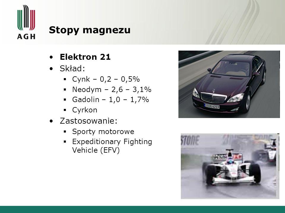 Stopy magnezu Elektron 21 Skład: Zastosowanie: Cynk – 0,2 – 0,5%
