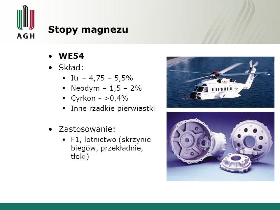 Stopy magnezu WE54 Skład: Zastosowanie: Itr – 4,75 – 5,5%