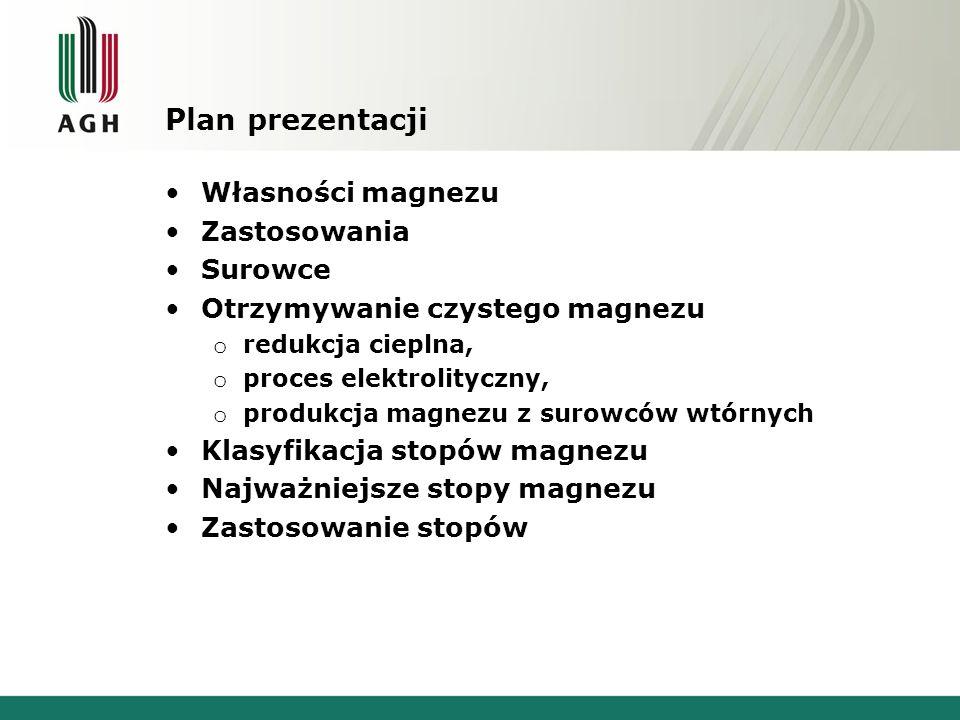 Plan prezentacji Własności magnezu Zastosowania Surowce