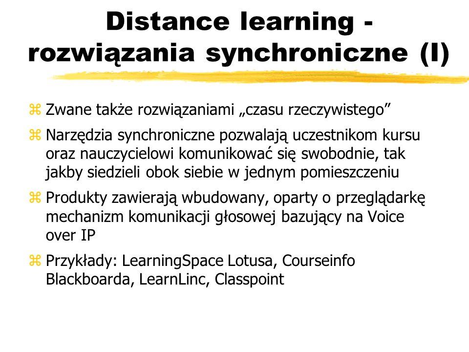 Distance learning - rozwiązania synchroniczne (I)