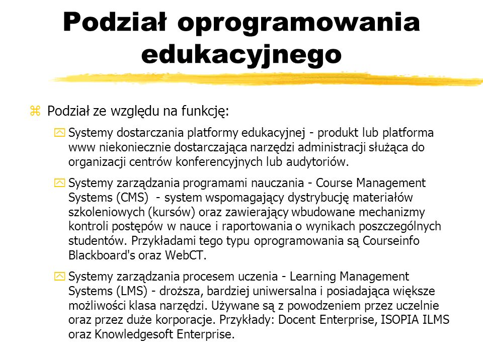 Podział oprogramowania edukacyjnego