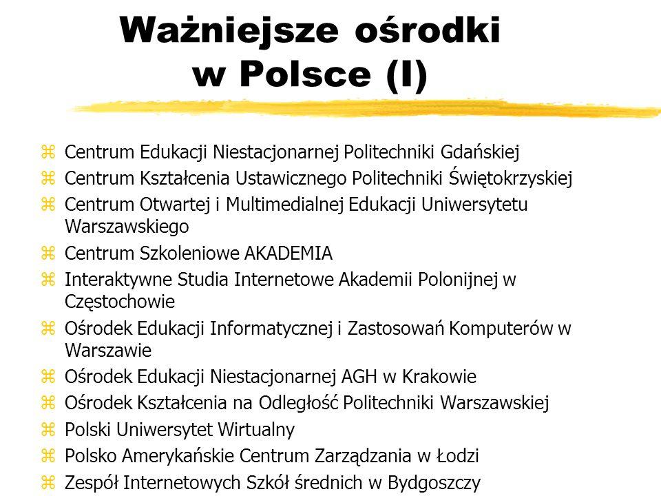 Ważniejsze ośrodki w Polsce (I)