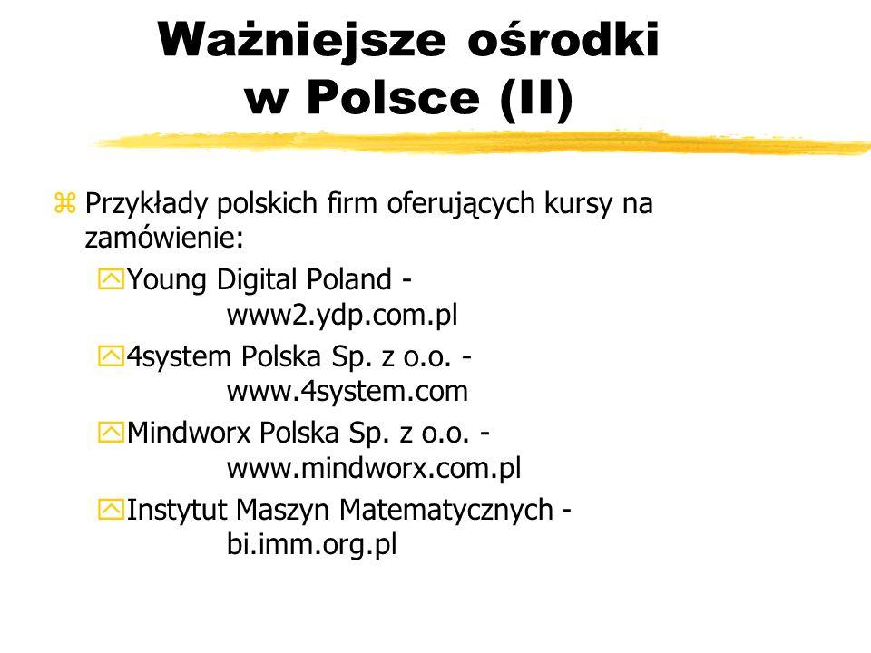 Ważniejsze ośrodki w Polsce (II)