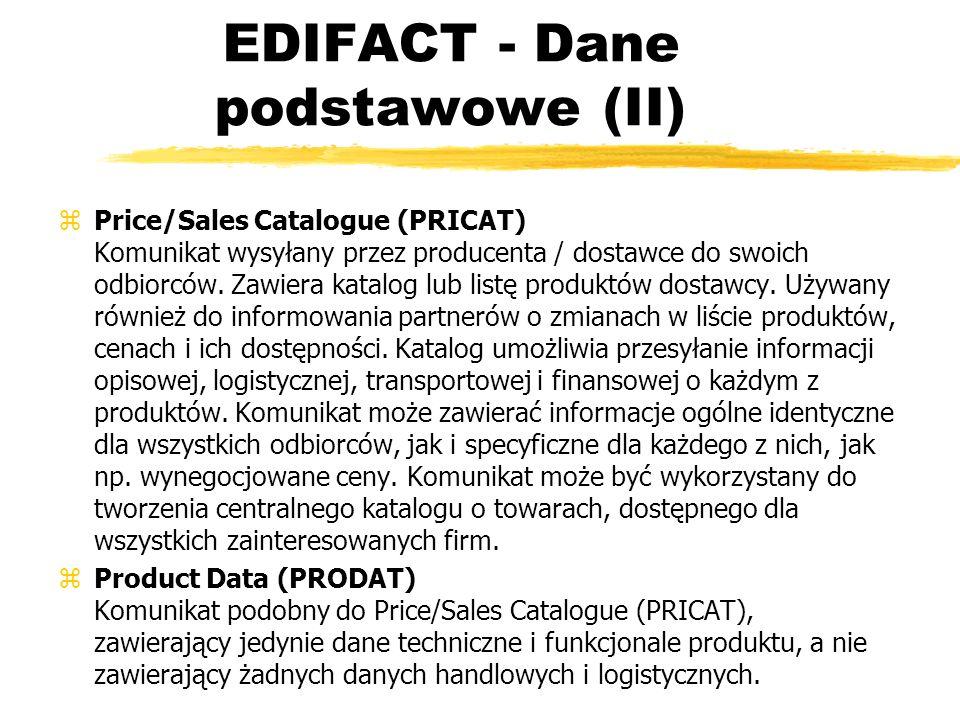 EDIFACT - Dane podstawowe (II)