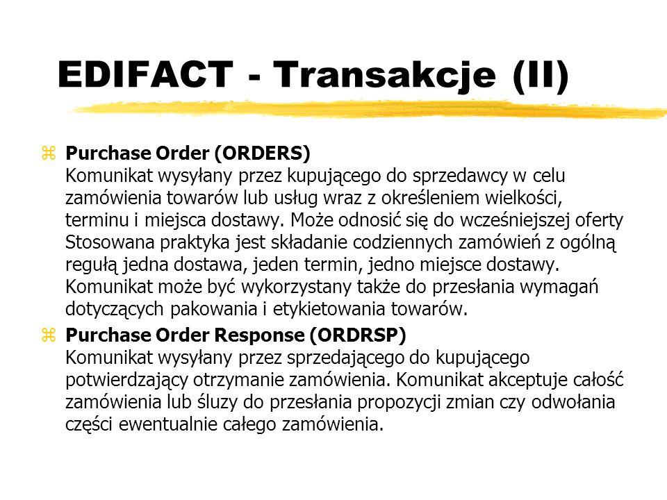 EDIFACT - Transakcje (II)