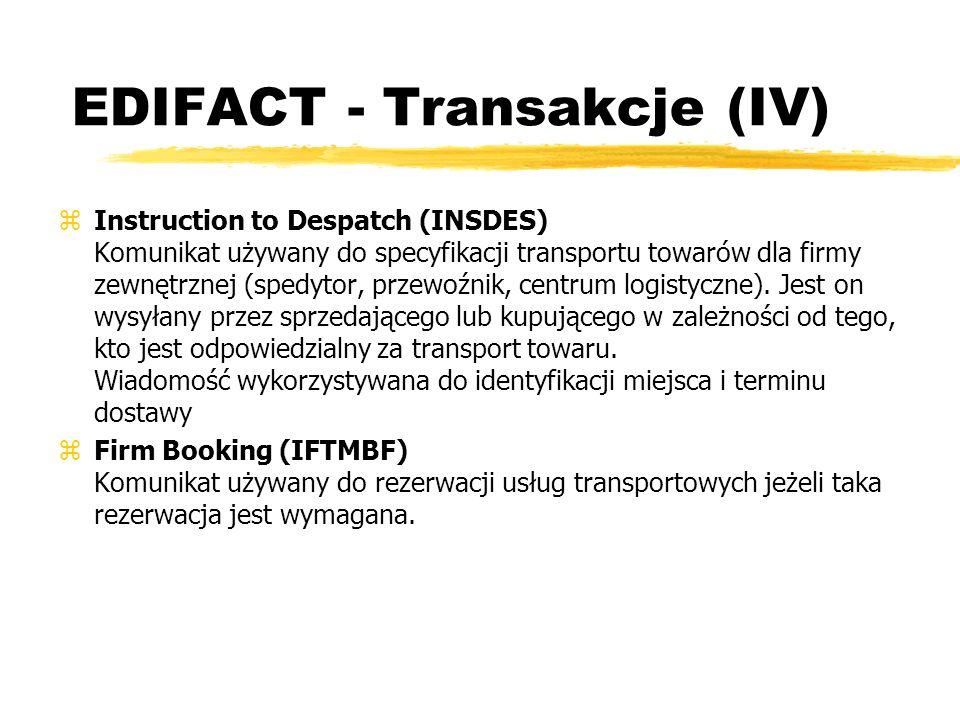 EDIFACT - Transakcje (IV)