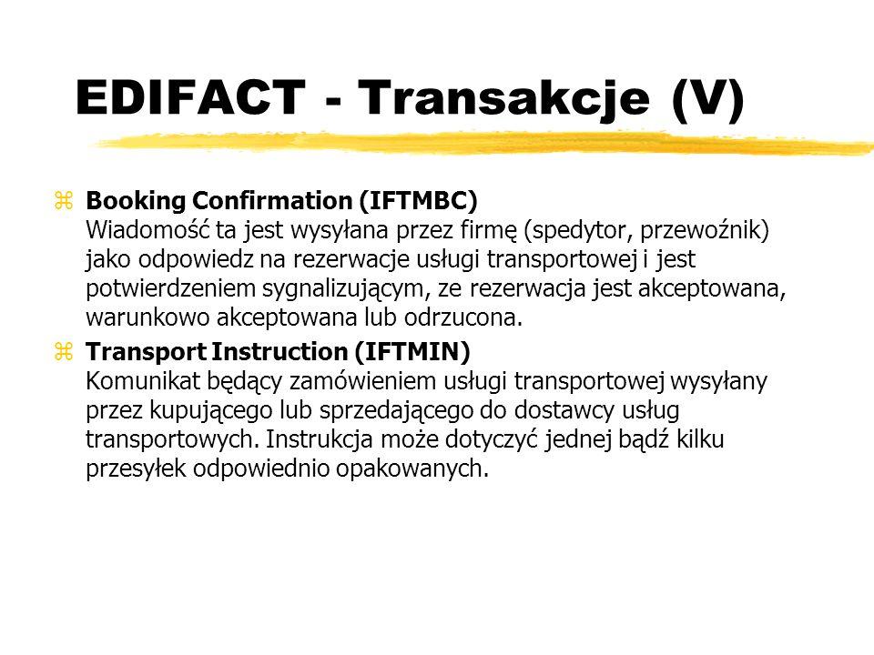 EDIFACT - Transakcje (V)