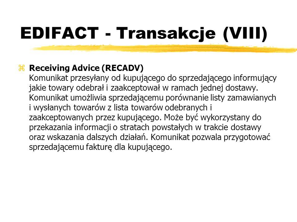 EDIFACT - Transakcje (VIII)