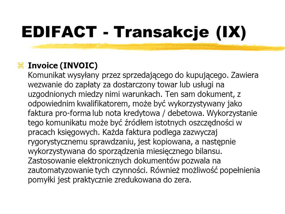EDIFACT - Transakcje (IX)