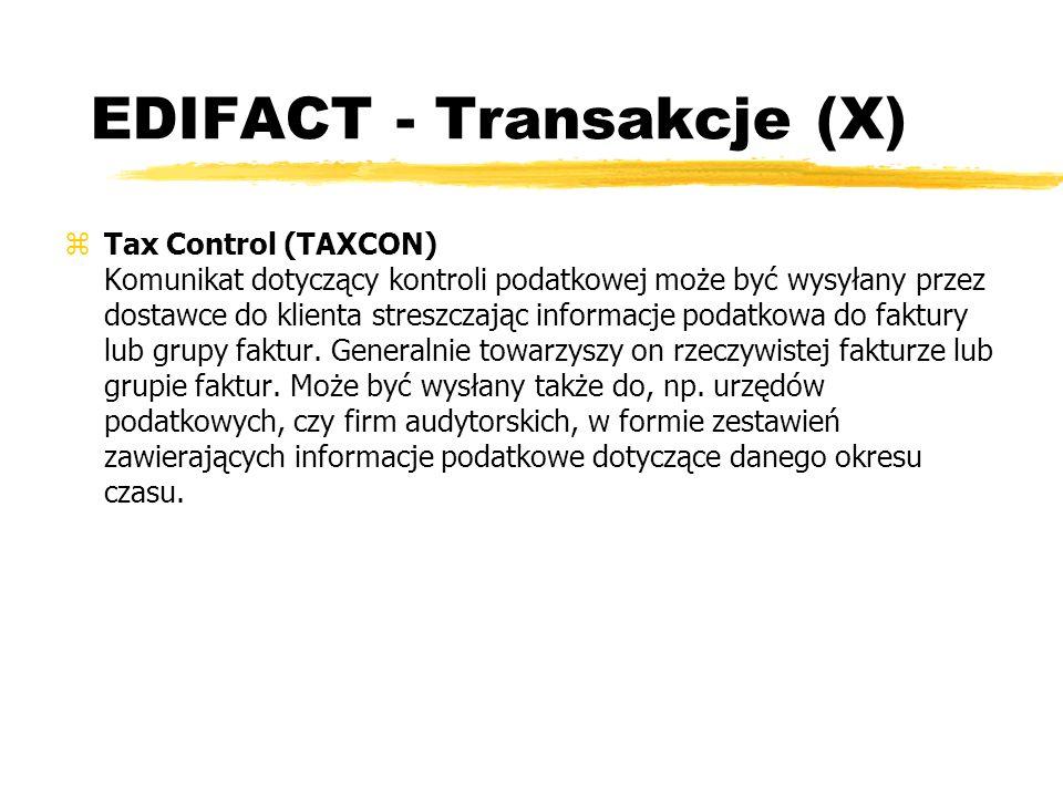 EDIFACT - Transakcje (X)