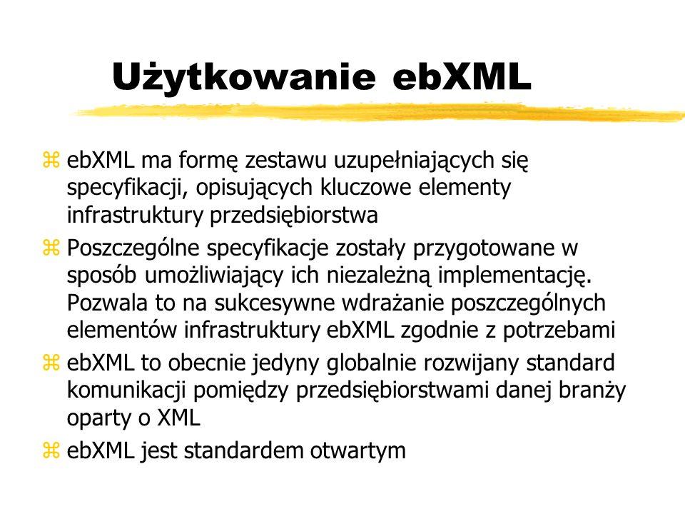 Użytkowanie ebXML ebXML ma formę zestawu uzupełniających się specyfikacji, opisujących kluczowe elementy infrastruktury przedsiębiorstwa.