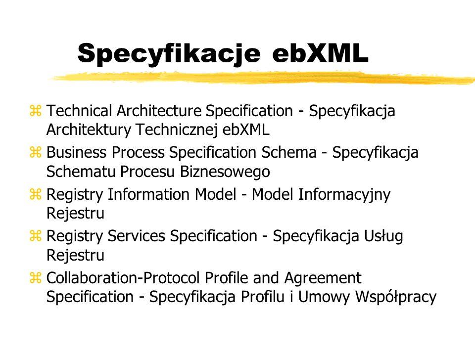 Specyfikacje ebXML Technical Architecture Specification - Specyfikacja Architektury Technicznej ebXML.
