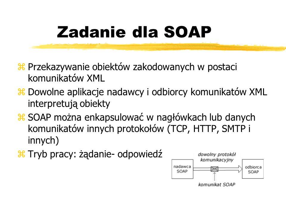 Zadanie dla SOAP Przekazywanie obiektów zakodowanych w postaci komunikatów XML.