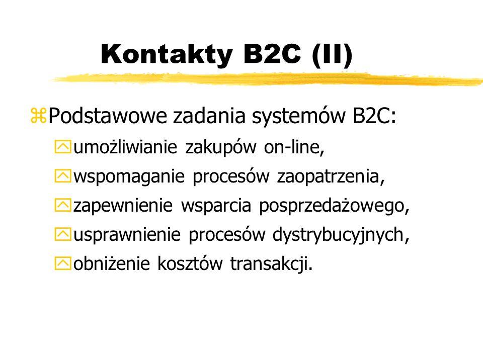 Kontakty B2C (II) Podstawowe zadania systemów B2C: