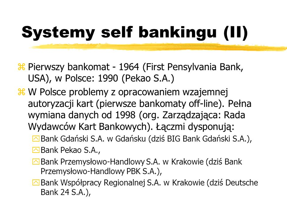 Systemy self bankingu (II)