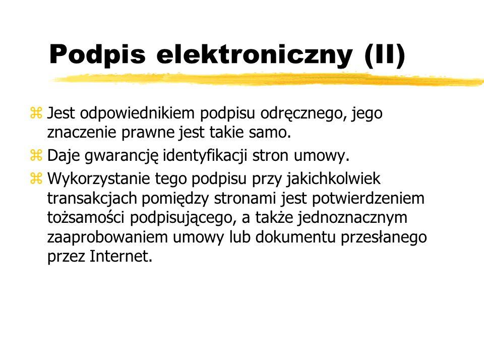 Podpis elektroniczny (II)