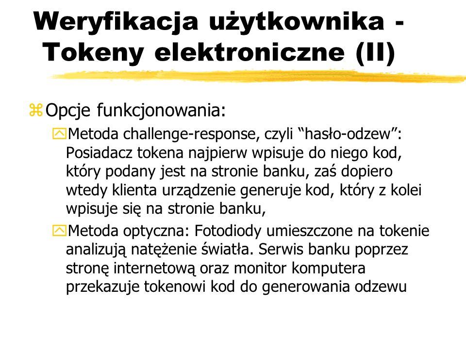 Weryfikacja użytkownika - Tokeny elektroniczne (II)