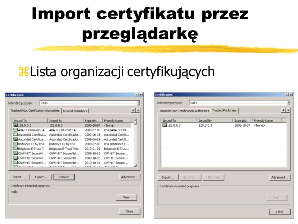 Import certyfikatu przez przeglądarkę