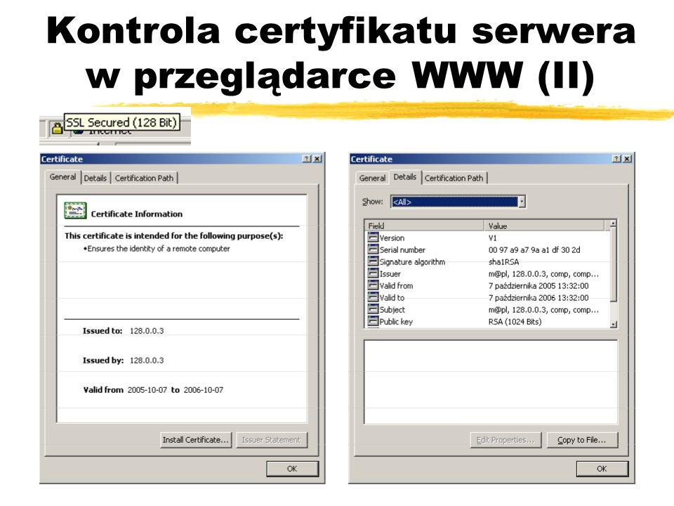 Kontrola certyfikatu serwera w przeglądarce WWW (II)
