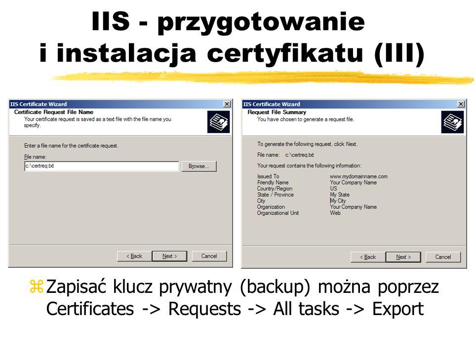 IIS - przygotowanie i instalacja certyfikatu (III)