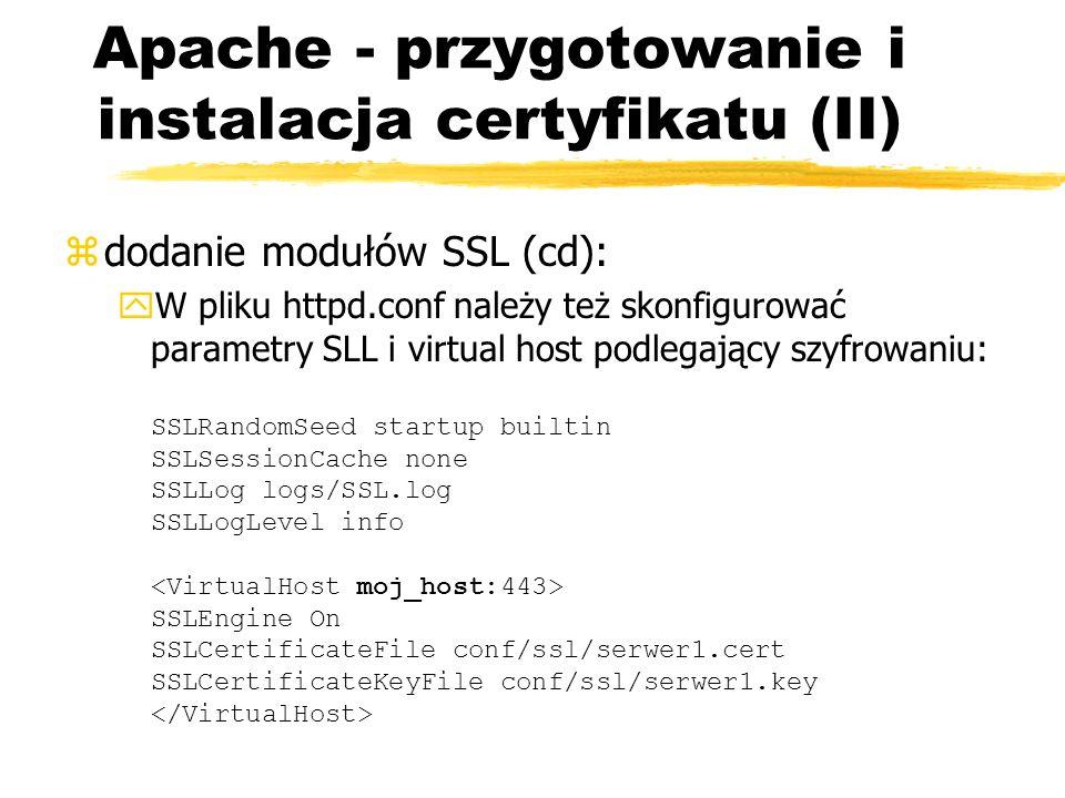 Apache - przygotowanie i instalacja certyfikatu (II)