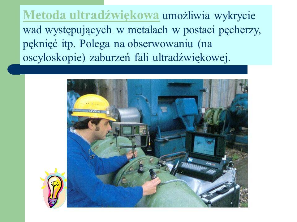 Metoda ultradźwiękowa umożliwia wykrycie wad występujących w metalach w postaci pęcherzy, pęknięć itp.