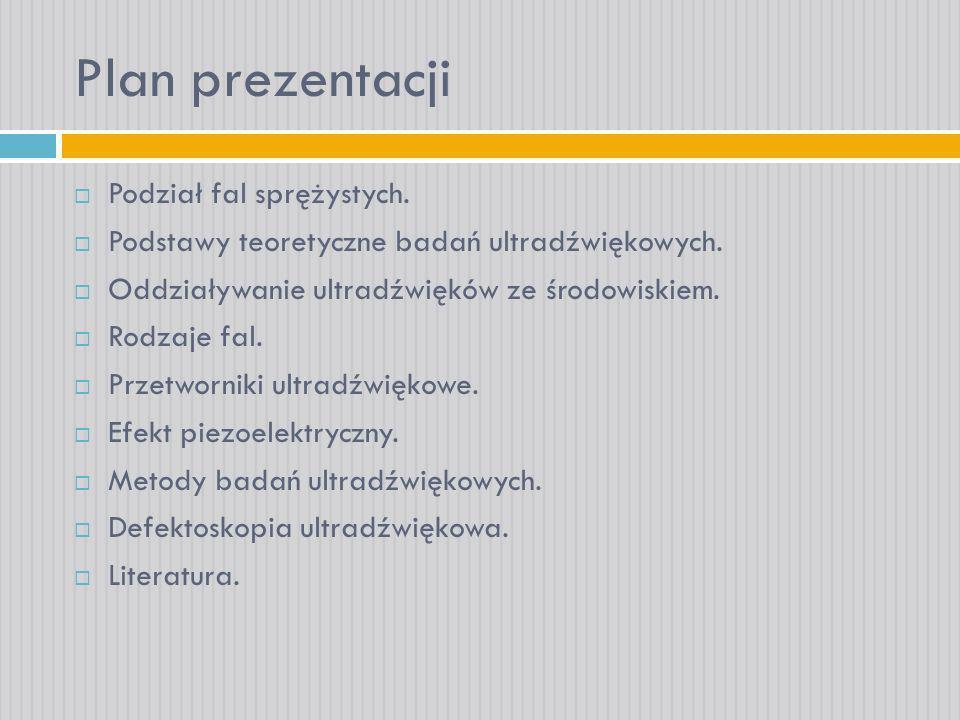 Plan prezentacji Podział fal sprężystych.