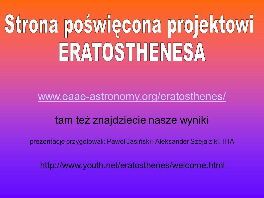 Strona poświęcona projektowi ERATOSTHENESA