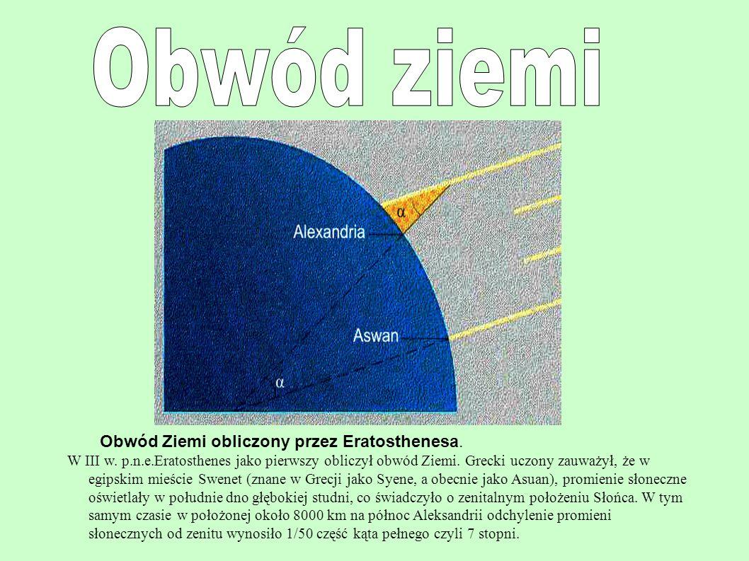 Obwód ziemi Obwód Ziemi obliczony przez Eratosthenesa.