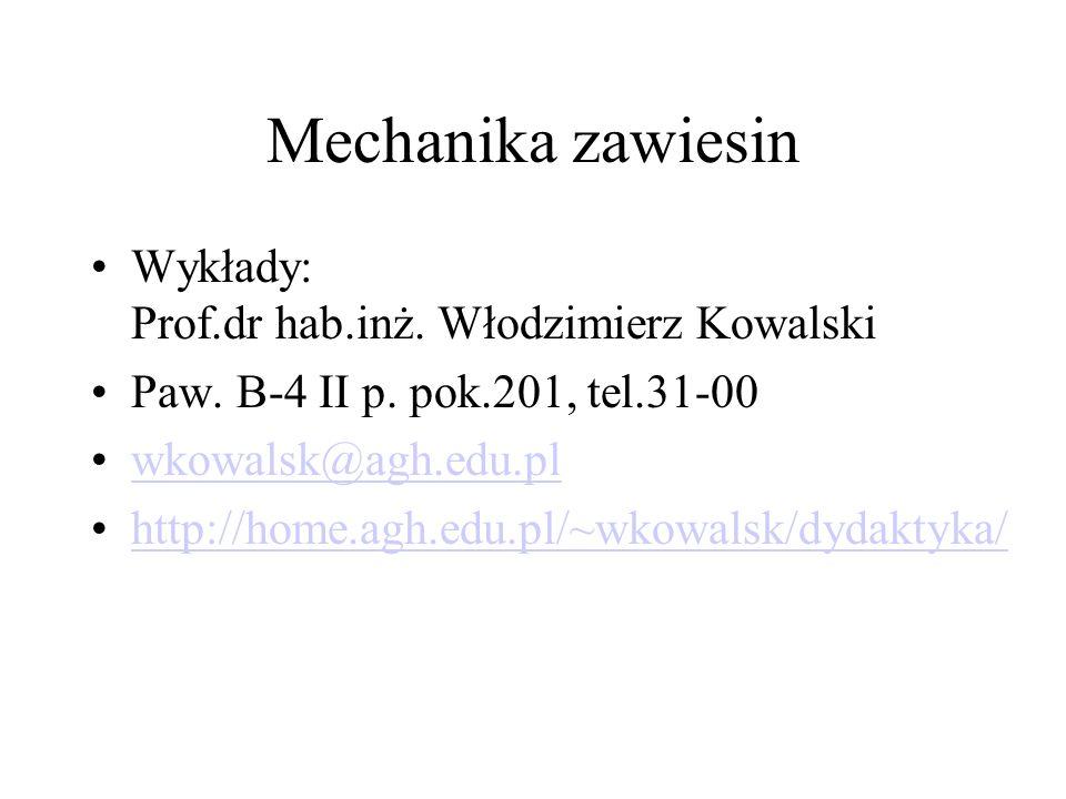 Mechanika zawiesin Wykłady: Prof.dr hab.inż. Włodzimierz Kowalski