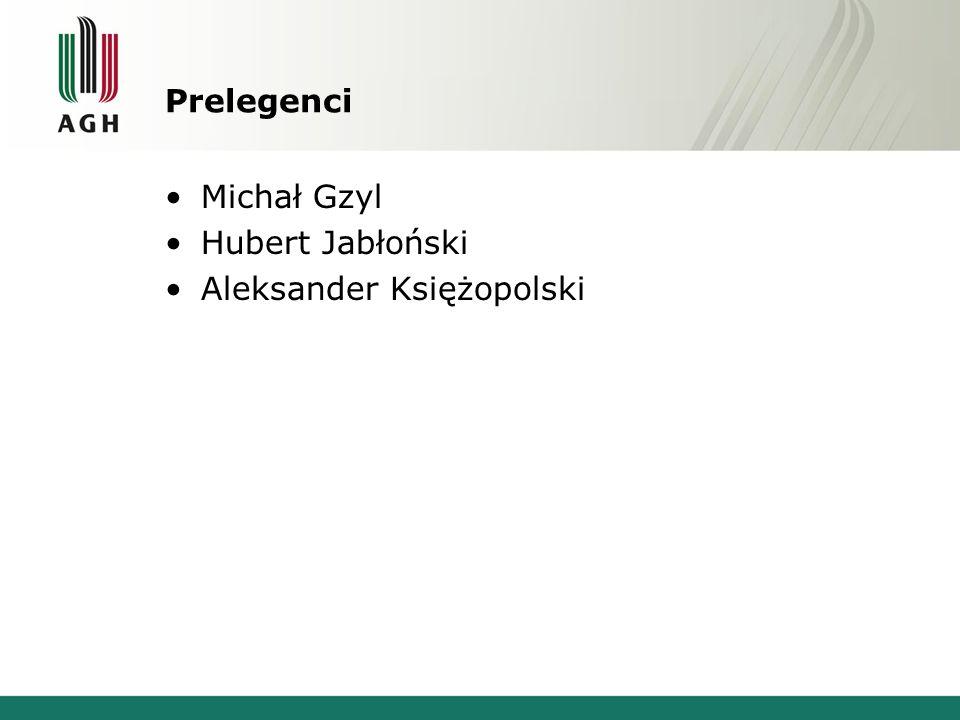 Prelegenci Michał Gzyl Hubert Jabłoński Aleksander Księżopolski