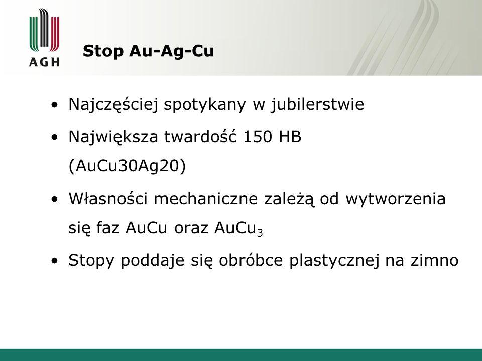 Stop Au-Ag-CuNajczęściej spotykany w jubilerstwie. Największa twardość 150 HB (AuCu30Ag20)