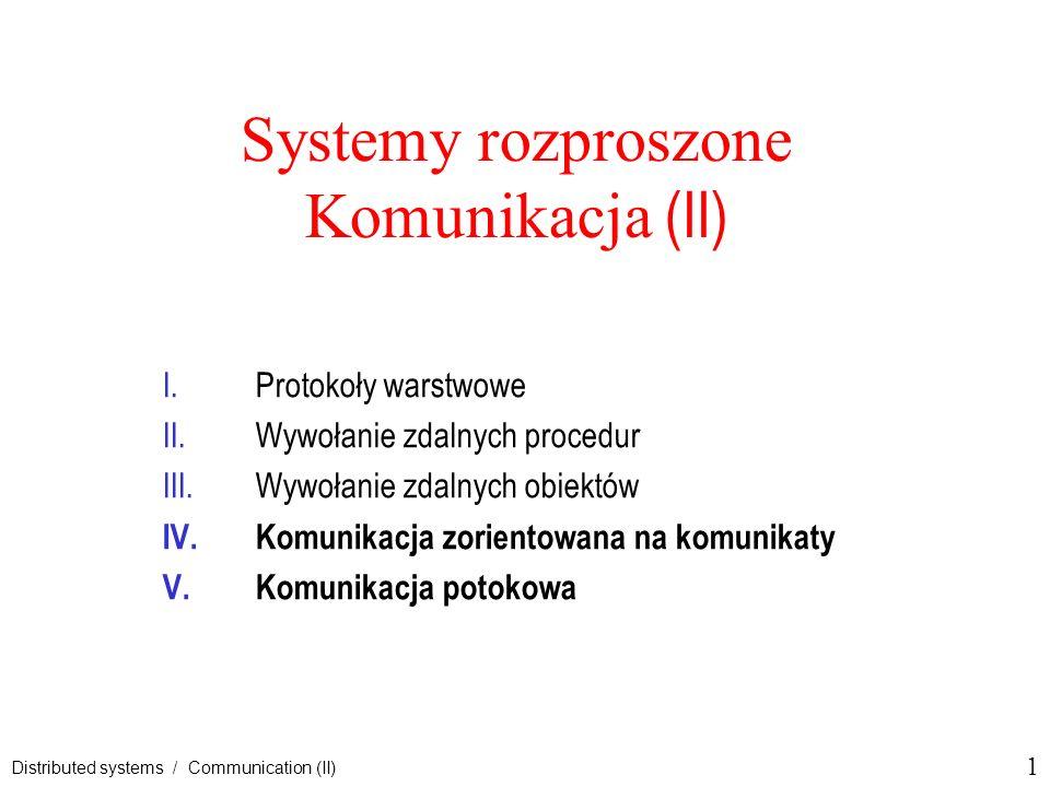 Systemy rozproszone Komunikacja (II)