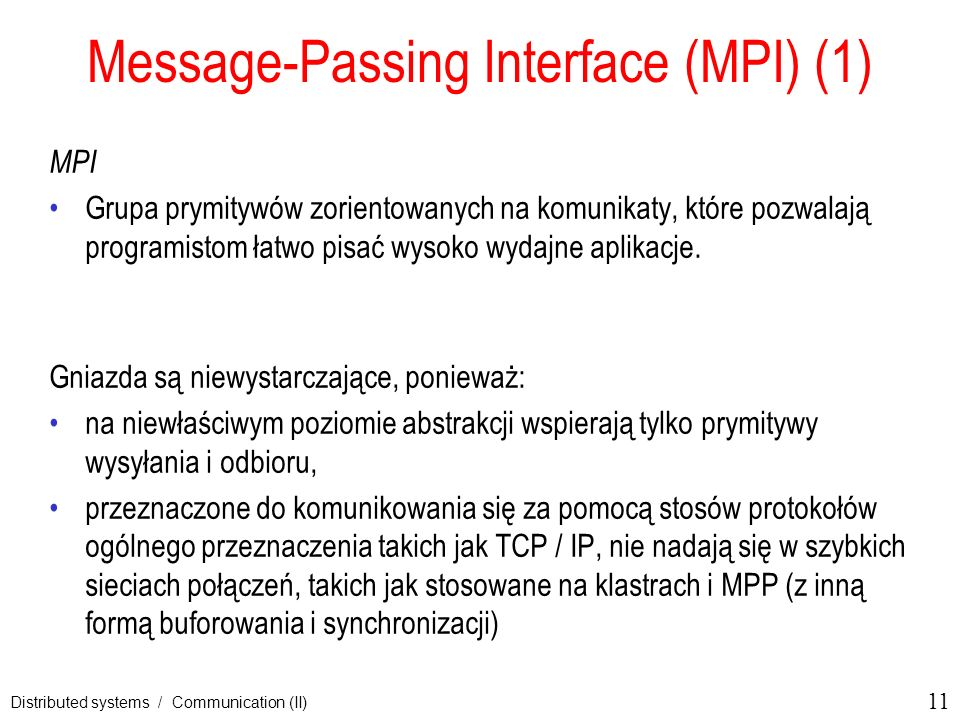 Message-Passing Interface (MPI) (1)