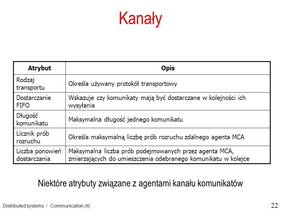 Niektóre atrybuty związane z agentami kanału komunikatów