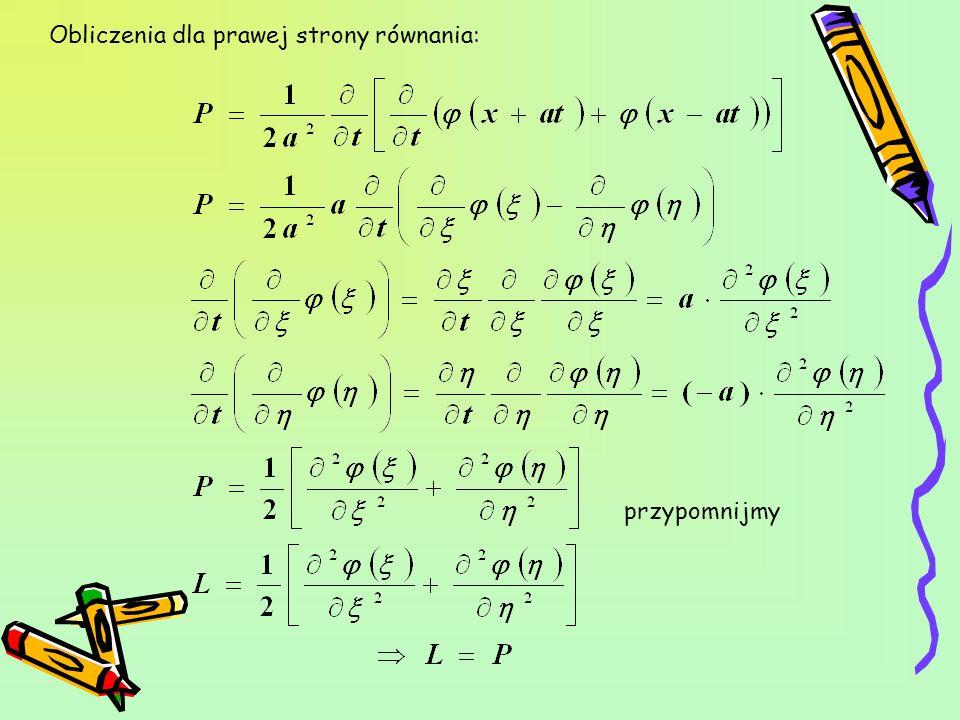 Obliczenia dla prawej strony równania: