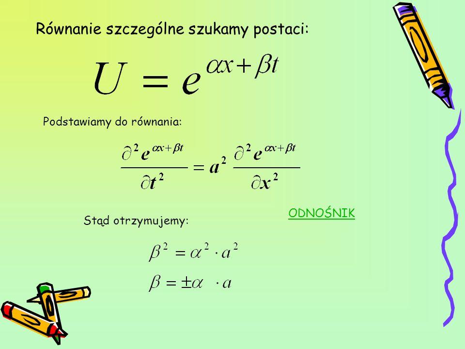 Równanie szczególne szukamy postaci:
